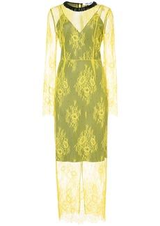 Diane Von Furstenberg crew neck lace dress - Yellow & Orange