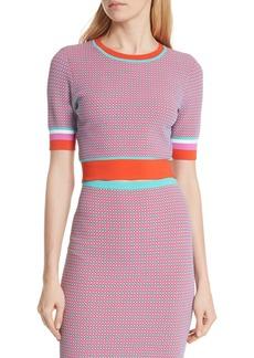 Diane von Furstenberg Crewneck Colorblock Crop Sweater