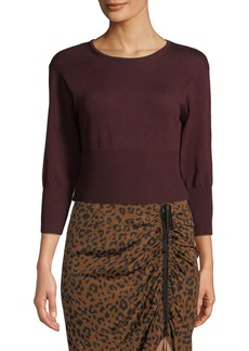 Diane von Furstenberg Crewneck Cropped Knit Pullover Sweater