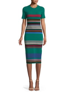 Diane von Furstenberg Crewneck Short-Sleeve Striped Knit Sweaterdress