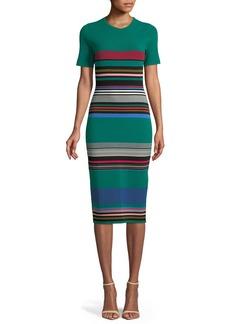 Diane von Furstenberg Crewneck Short-Sleeve Striped Knit Sweaterdress