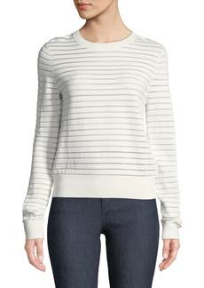 Diane von Furstenberg Crewneck Striped Knit Pullover Top