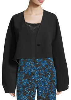 Diane von Furstenberg Cropped Button-Up Crossover Crepe Jacket