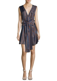 Diane von Furstenberg Crossover Sleeveless Tie-Front Silk Dress
