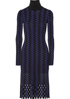 Diane Von Furstenberg Cutout two-tone wool turtleneck midi dress