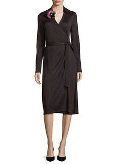 Diane von Furstenberg Cybil Floral-Appliqué Jersey Wrap Dress