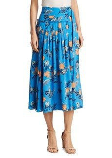 Diane Von Furstenberg D-Ring Floral Midi Skirt