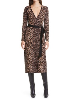 Diane Von Furstenberg Damaris Tie Waist Long Sleeve Midi Dress