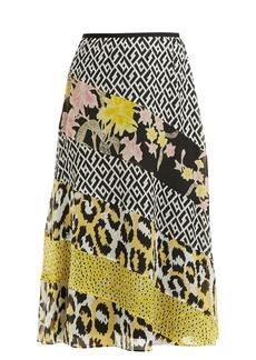 Diane Von Furstenberg Darcie printed-panel silk midi skirt