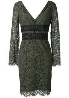 Diane Von Furstenberg deep V-neck lace dress - Green