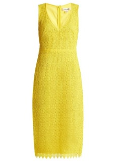 Diane Von Furstenberg Deep V-neck macramé-lace midi dress