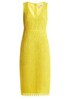 Diane Von Furstenberg Deep V-neck macramé-lace midi dress