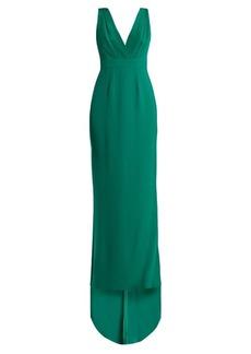 Diane Von Furstenberg Deep V-neck silk-cady gown