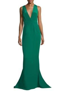 Diane von Furstenberg Deep V-Neck Silk Mermaid Gown