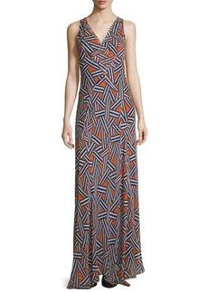 Diane von Furstenberg Dita Sleeveless Ribbon Rectangles Silk Gown