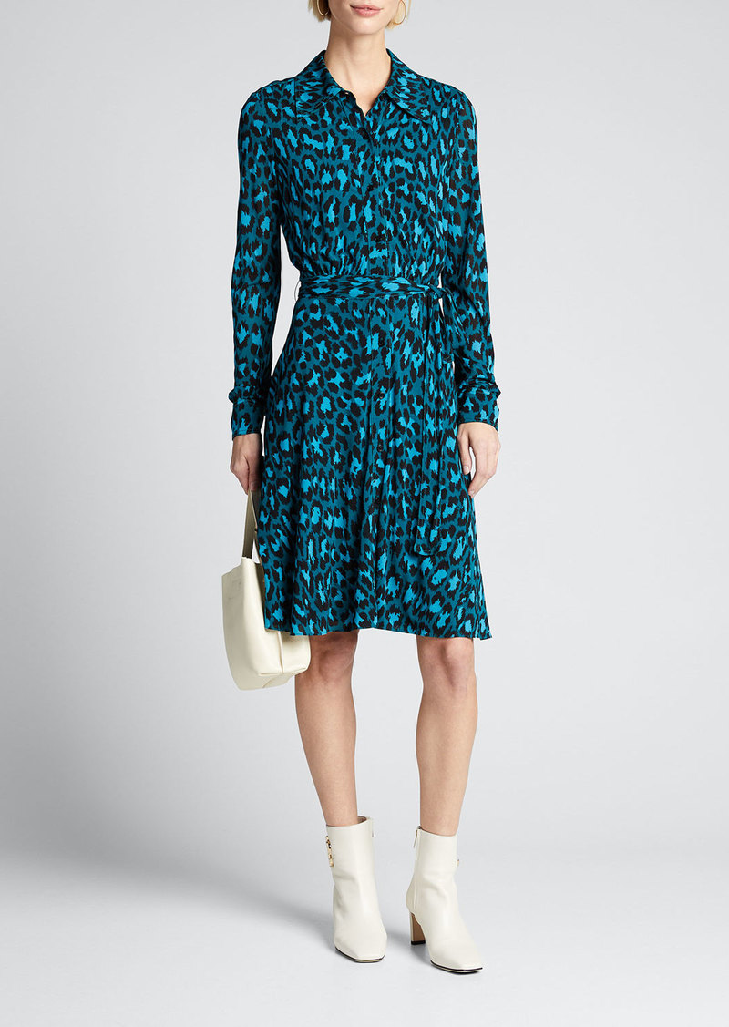 Diane von Furstenberg Dory Belted Leopard-Print Shirt Dress