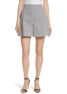 Diane von Furstenberg Dot High Waist Stretch Cotton Shorts