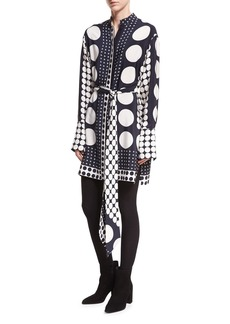 Diane von Furstenberg Dot-Print Button-Front Long-Sleeve Silk Shirtdress