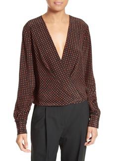 Diane von Furstenberg Dot Print Silk Drape Front Blouse