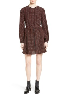 Diane von Furstenberg Dot Silk Drawstring Waist Dress