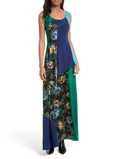 Diane von Furstenberg Double Layer Silk Maxi Dress