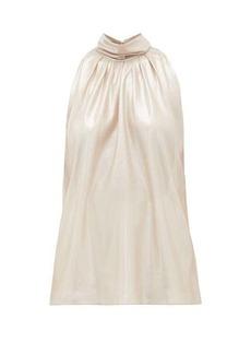 Diane Von Furstenberg Dove high-neck lamé blouse