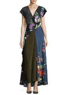 Diane von Furstenberg Draped Mixed-Print Floral & Dot Silk Maxi Dress