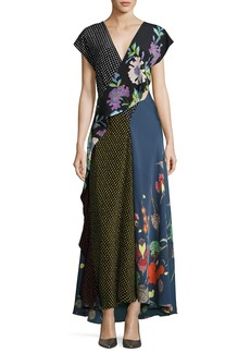 Diane von Furstenberg Draped Mixed-Print Floral & Dot Silk Maxi Dress