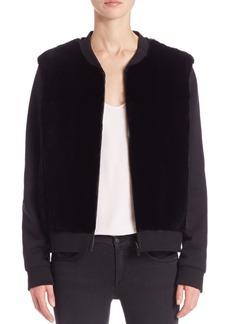 Diane von Furstenberg Dylin Rabbit Fur Reversible Camo Jacket