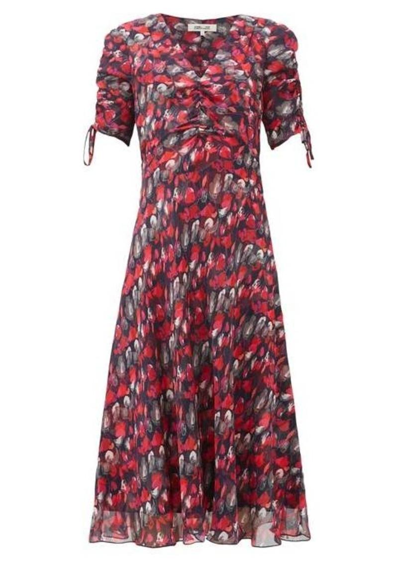 Diane Von Furstenberg Eleanora gathered silk-chiffon midi dress
