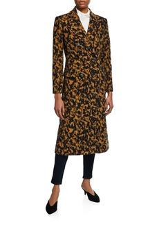 Diane von Furstenberg Elsa Leopard Double-Breasted Virgin Wool Coat