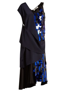 Diane Von Furstenberg Embellished asymmetric V-neck silk dress
