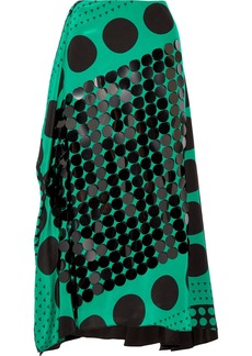 Diane Von Furstenberg Embellished printed silk crepe de chine midi skirt