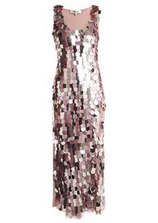 Diane Von Furstenberg Embellished sleeveless silk dress