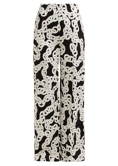 Diane Von Furstenberg Erica Crawling Chain-print high-rise trousers