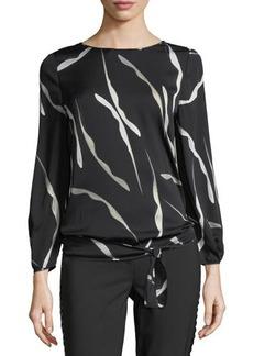 Diane von Furstenberg Evvy Open-Back Silk-Blend Blouse
