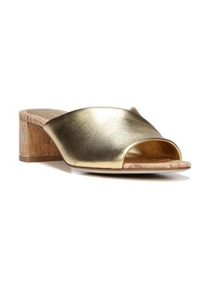 Diane von Furstenberg Faleria Metallic Leather Cork Block-Heel Mules