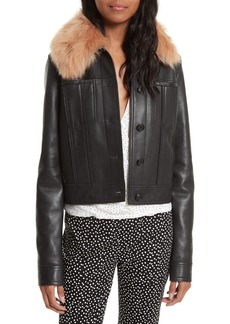 Diane Von Furstenberg Faux Fur Collar Leather Jacket