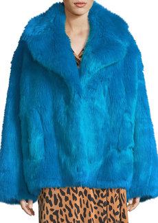 Diane von Furstenberg Faux-Fur Long-Sleeve Boxy Collared Jacket