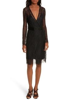 Diane von Furstenberg Faux-Wrap Lace Overlay Dress