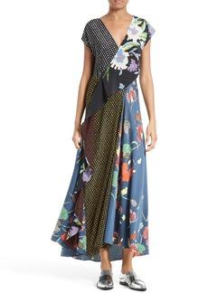 Diane von Furstenberg Faux Wrap Silk Maxi Dress
