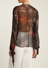 Diane Von Furstenberg Fenelon-print neck-tie silk blouse