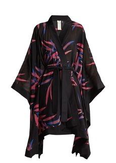 Diane Von Furstenberg Fern-print cotton and silk-blend kimono robe