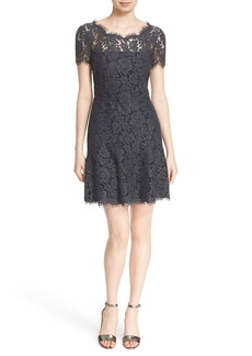 Diane von Furstenberg 'Fifi' V-Back Flounce Hem Lace Dress
