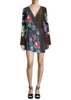 Diane von Furstenberg Floral & Dot Print Silk Jersey Dress  Multicolor
