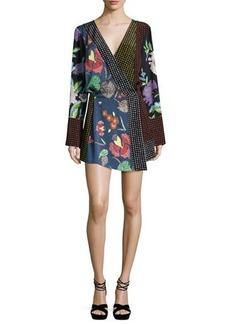 Diane von Furstenberg Floral & Dot Print Silk Jersey Dress