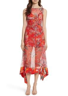 Diane von Furstenberg Floral Boat Neck Chiffon Midi Dress