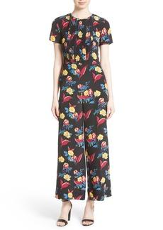 Diane von Furstenberg Floral Crop Silk Jumpsuit