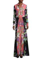 Diane von Furstenberg Floral Long Silk Shirt Dress