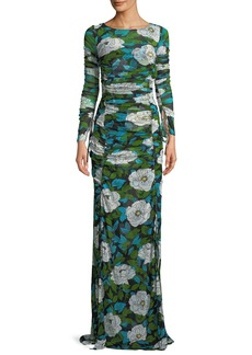 Diane von Furstenberg Floral Maxi Floor-Length Fitted Dress